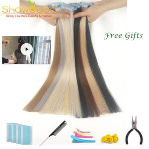 Showcoco Human-Hair-Extensions Blonde-Tape Tape-In Shine Brown 828 Real-Hair Machine-Made