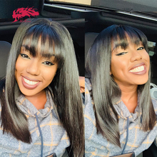 Brazilian Straight Full Machine Wigs With Bangs 10-16 Inches ALi Queen