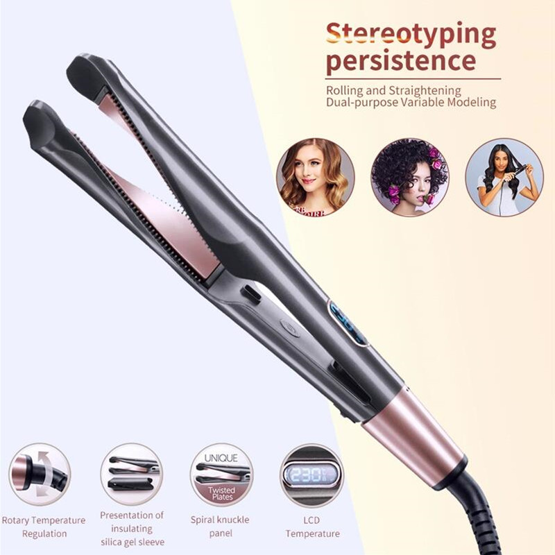 Professional 2 In 1 Hair Curler And Straightener In One Twist Curling Iron Barber Salon Flat Irons Styler Tourmaline Ceramic