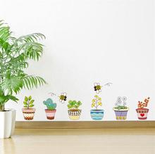 Pot Plant Flower Plant Butterfly Bee Wall Stickers Nature Lovely Window Decor Living Room PVC Decor Home DIY Decal plant wall decal