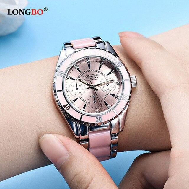 LONGBO יוקרה מותג נשים שעון גבירותיי קוורץ שעונים יוקרה ליידי שעון יד אופנה נשי שעון עמיד למים Relogio Feminino