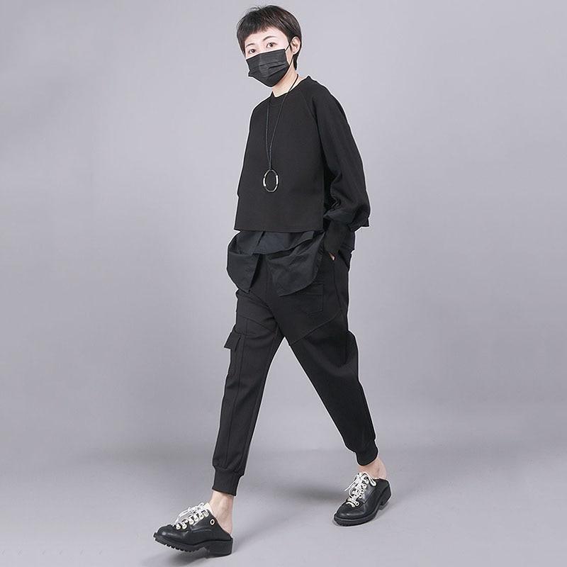 [EAM] Loose Fit Black Split Joint Big Size Sweatshirt New Round Neck Long Sleeve Women Big Size Fashion Tide Spring 2020 1R856 3