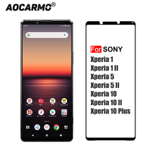 Aocarmo 2.5D 0.26mm 9H pełna klejone sitodruk ekranu ze szkła hartowanego wyświetlacz folia ochronna do Sony Xperia 11II 5 II 10 Plus 10II
