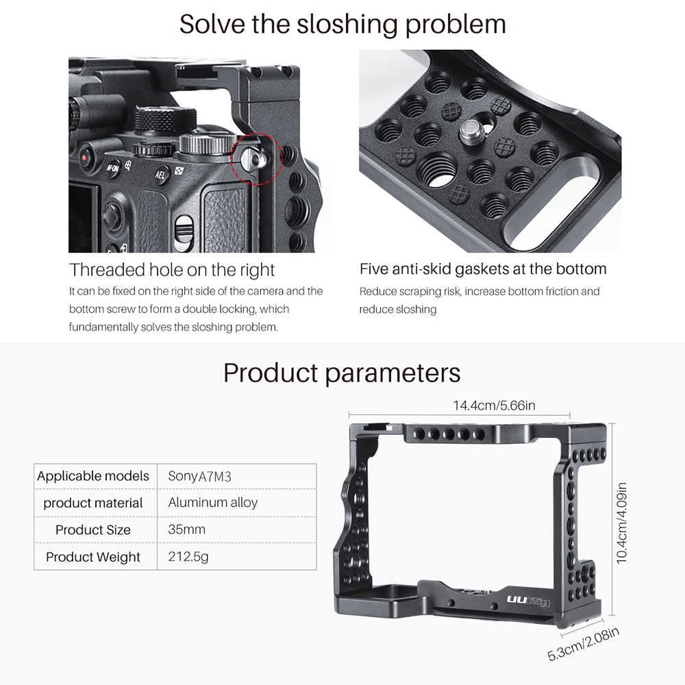 XIAOMIN Housing Shell CNC Aluminum Alloy Protective Cage with 37mm UV Lens /& Cold-Shoe Base Mount /& Screw /& Tripod Adapter for Sony RX0 II Premium Material Color : Black Black