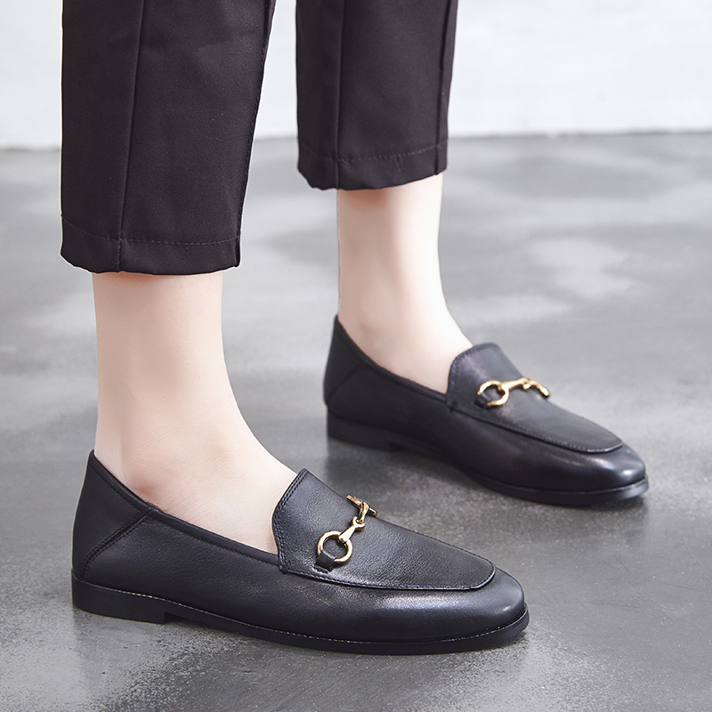Dumoo Brand 2019 Flats Basic Shoes Women Loafers Cow Leather Metal Decoration Fashion Ladies Genuine
