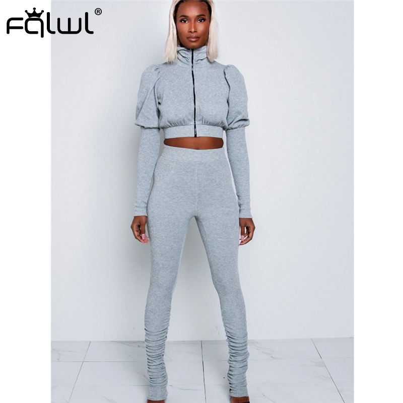FQLWL Two Piece Set Top And Pants Women Sport Suit Ladies Tracksuits Female Knitted 2 Piece Set Women Sweat Suits Matching Sets