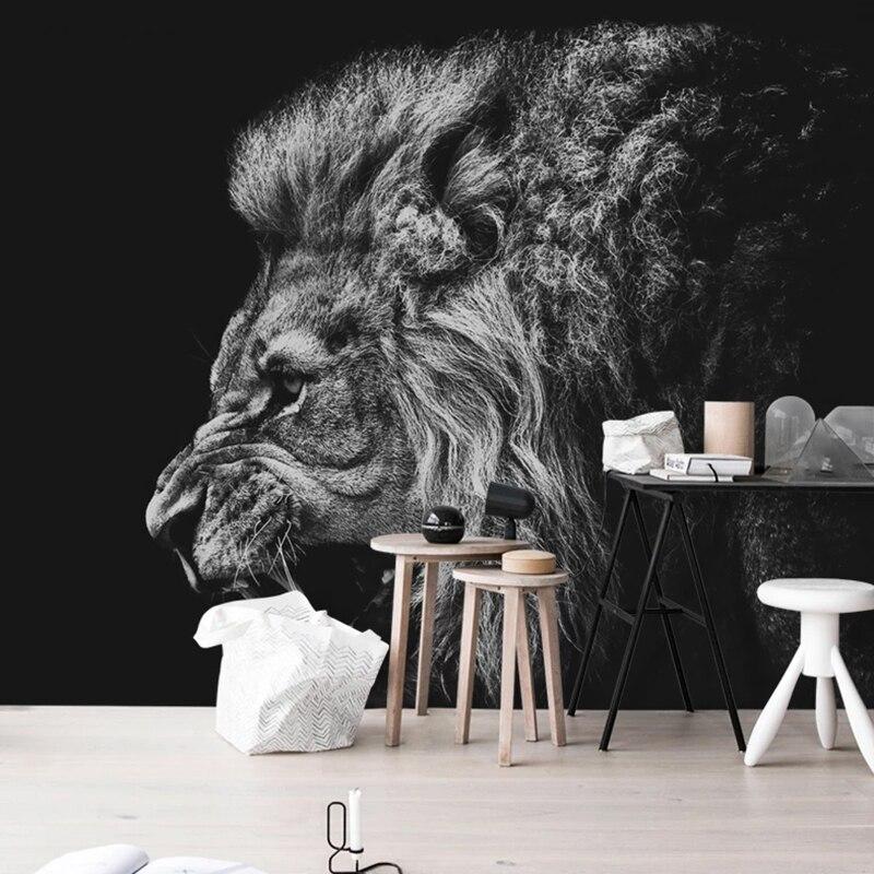 Пользовательские фотообои для стен, 3D современные индивидуальные черные, белые, с Львом, Настенные обои для спальни, кабинета, гостиной, фоновые бумажные обои