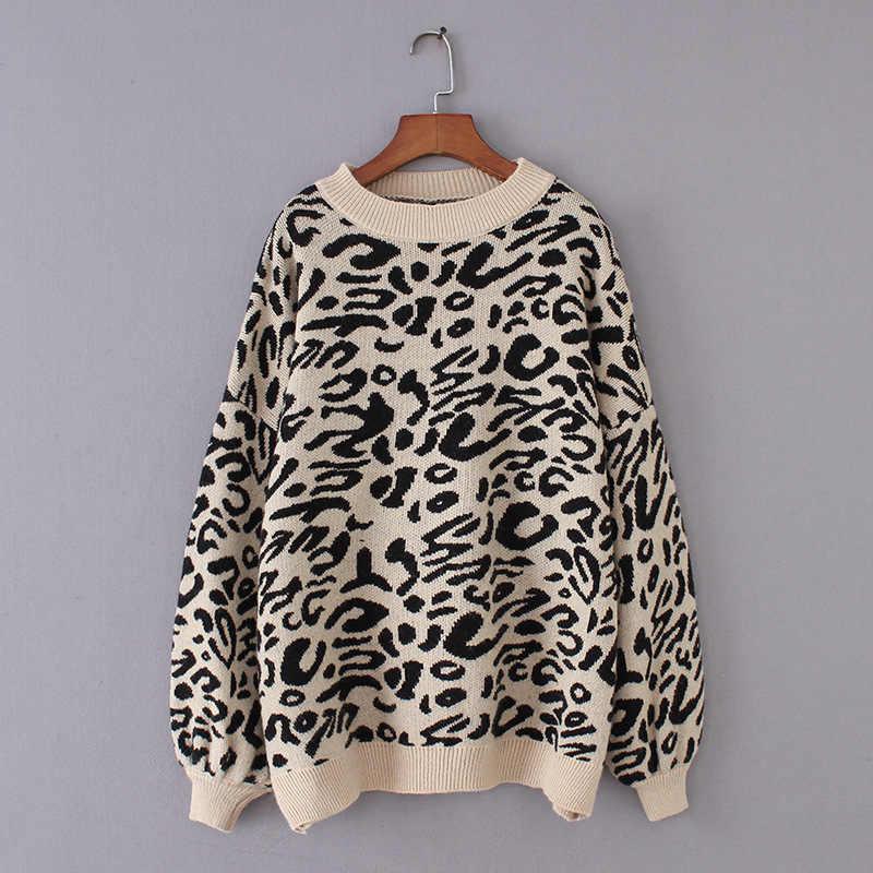 Suéter de punto de leopardo de cuello alto para mujer, suéter de invierno con estampado de animales, jerséis gruesos para mujer, tops casuales, suéter de gran tamaño