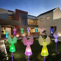 Primavera Artificial Ángel Solar jardín faro Color cambiar LED lámpara al aire libre impermeable Angel luces de jardín patio, césped jardin