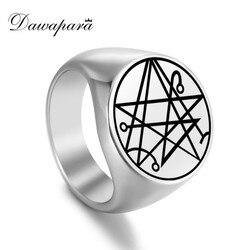 Dawapara necronomicon a porta dos deuses selo viking anel amuleto satânico magia talismã anéis de aço inoxidável
