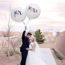 Big Size 36Inch Mr Mrs Witte Latex Ballonnen For A Bruiloft, bridal Wedding Party Globos Te Air Deco Bruid Actief Worden, Ba R0J7