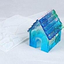 2pcs New Creative DIY Silicone Mold Christmas House Shape Fondant Baking Tools Candy Cookies Decor Chocolate Cake