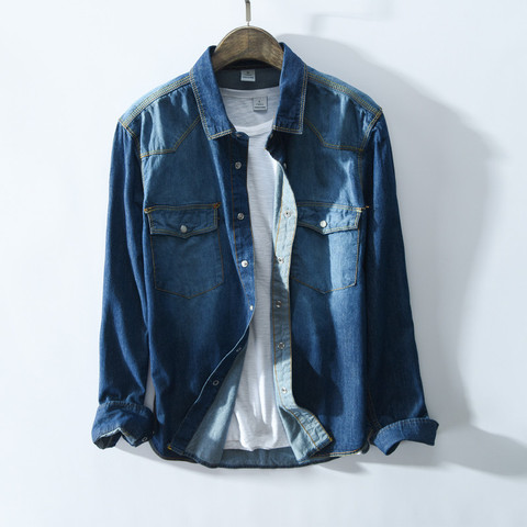 Autumn New Fashion Men brand Cotton Slim Fit Long sleeve Jeans blue Shirt Male Casual washed blue Solid Denim Shirts Homme Karachi