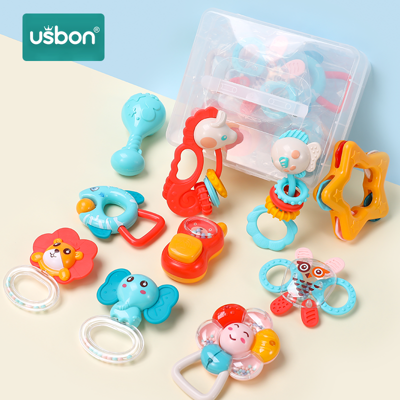 Usbon 5-12Pcs/Set  Colorful Baby Rattle Set Montessori Toys Teething Kids Educational Crib Mobiles Baby Teether Rattles For Baby