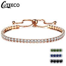 Cuteeco Fashion Women Rhinestone Cubic Zirconia Bracelet Adjustable Bracelets Jewelry Femme Gift Party