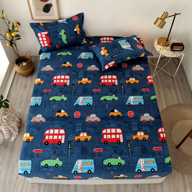 Bonenjoy 3 pcs Sheet on Rubber Band Kids Bed Sheet Cartoon Cars Printed Fitted Sheet for Boy Single Fitted Bed Sheet 25