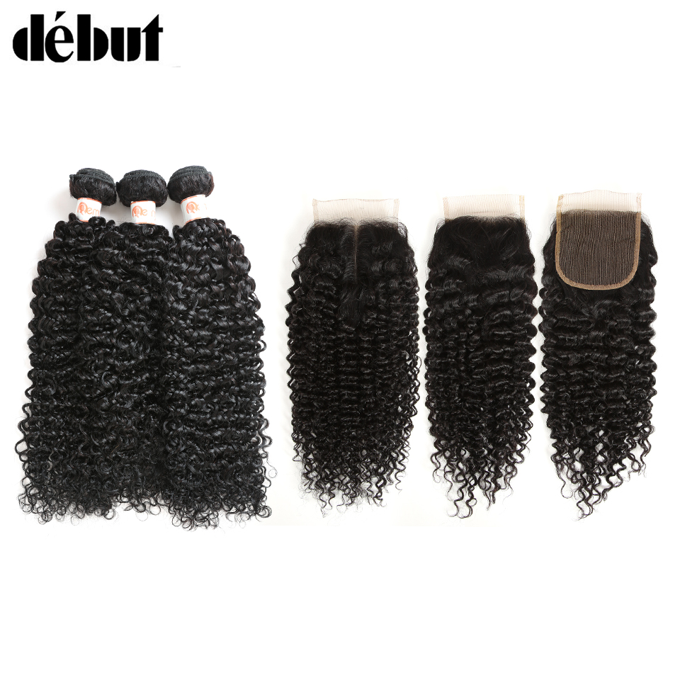 Debut Curly Bundles With Closure 30 Inch Bundles With Closure 100% Brazilian Hair Weave Bundles 3 4 Curly Bundles With Closure