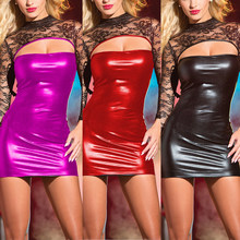 Sexy Women Lingerie Erotic PU Leather Sleepwear Nightwear Long Sleeve Bodycon Stretch Short Mini Dress Wet Erotic Sex Clothes(China)