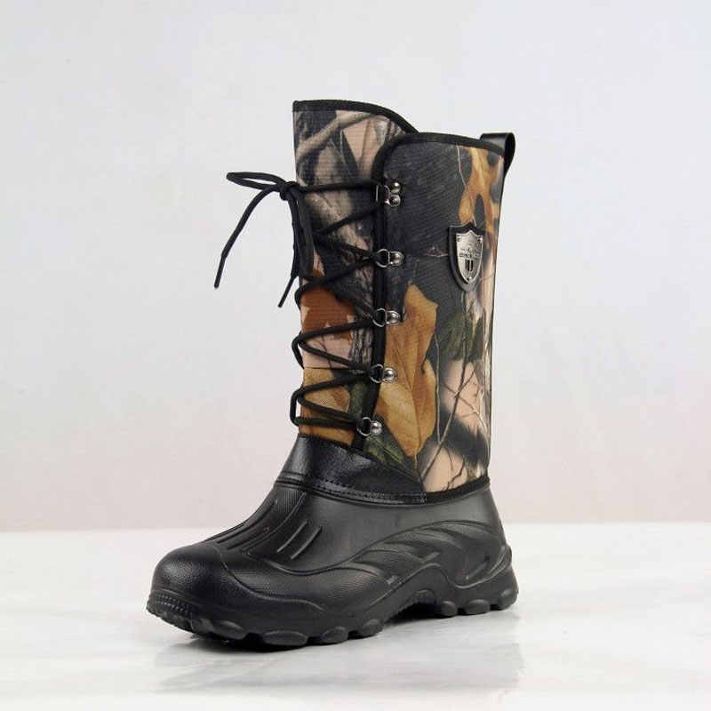 Уличные зимние сапоги для рыбалки; Тактические Сапоги до колена; камуфляжные резиновые сапоги; походная обувь для походов и охоты; водонепроницаемые зимние сапоги для рыбалки