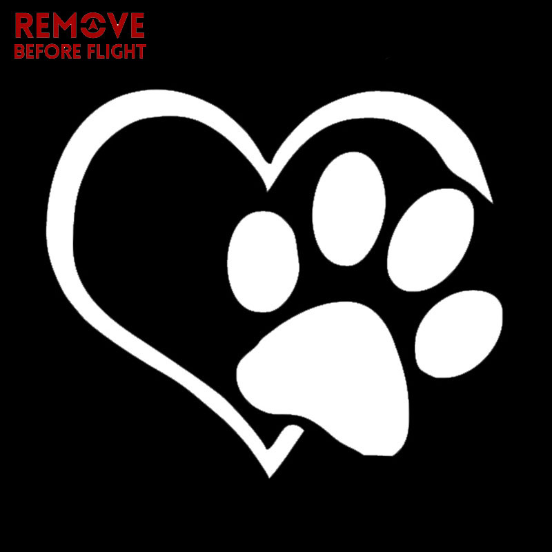 Car Sticker Pet Paw With Heart Dog Cat Vinyl Decal Car Window Bumper Wall sticker decor Motorcycle Sticker and Decals