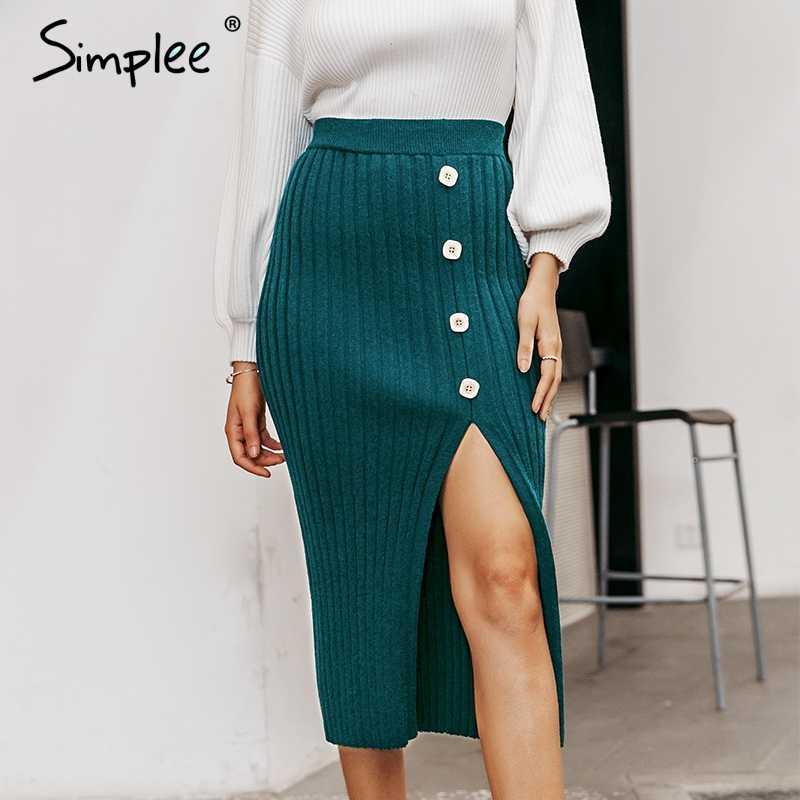 Simplee Сексуальная женская трикотажная юбка с разрезом сбоку, элегантная плиссированная женская Юбка-миди, высокая талия, праздничная одежда, Женская Нижняя юбка