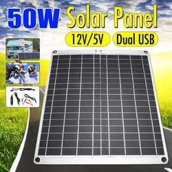 50W Solar Panel Dual USB 12V/5 vmonocristalina Células solares flexibles Cargador Solar impermeable para coche RV yate batería barco
