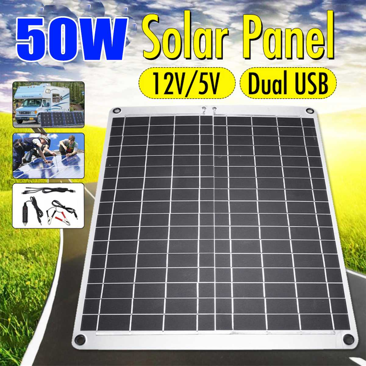 50W Solar Panel Dual USB 12V/5VMonocrystaline Flexible Solar Cells Waterproof Solar Charger For Car RV Yacht Battery Boat