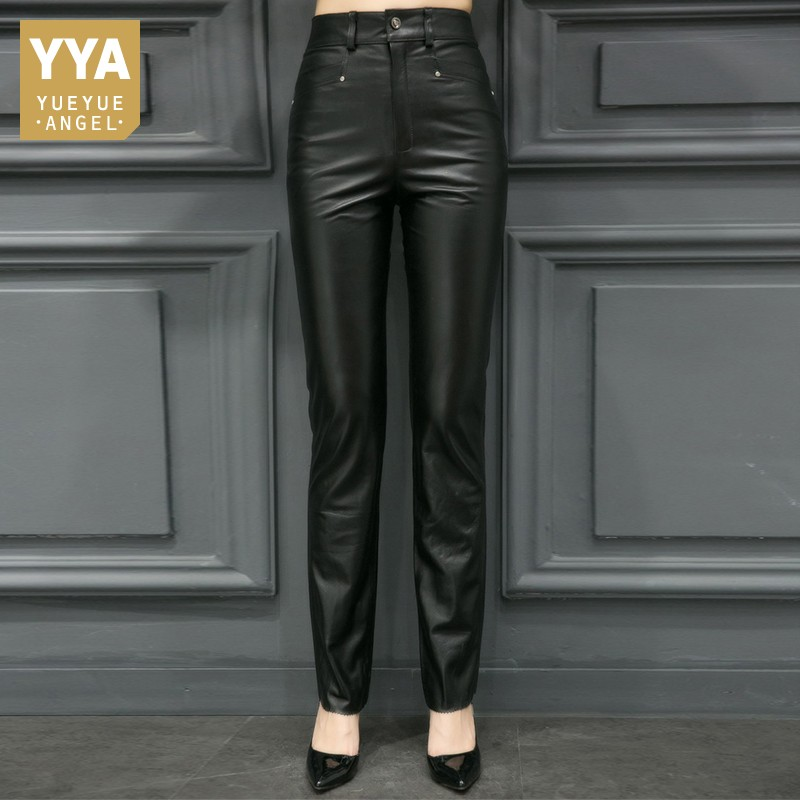 Plus Size S-5XL Women Sexy Real Leather Skinny Pants Office Lady Trousers High Waist Pencil Pants Woman Full Length Top Quality