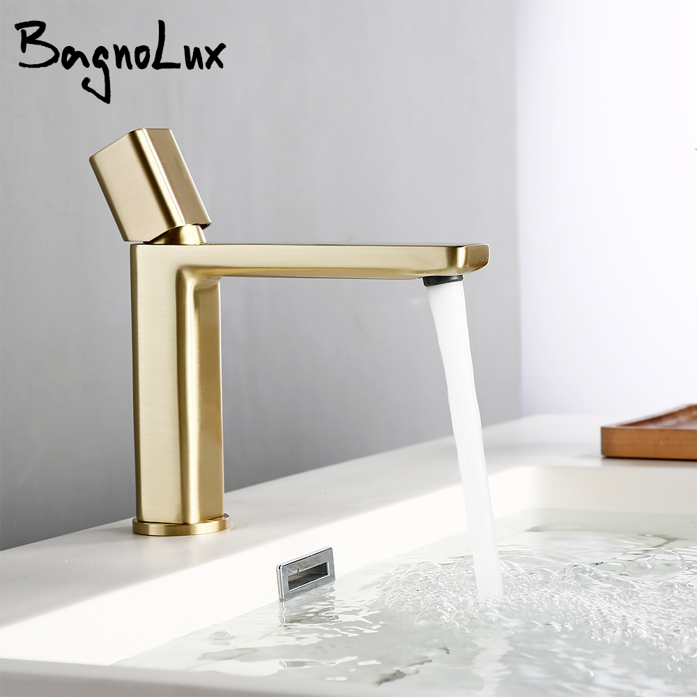 Bagnolux Brushed Gold Brass Single Hole Single Handle Deck Mounted Basin Hot And Cold Water Sink Bathroom Faucets