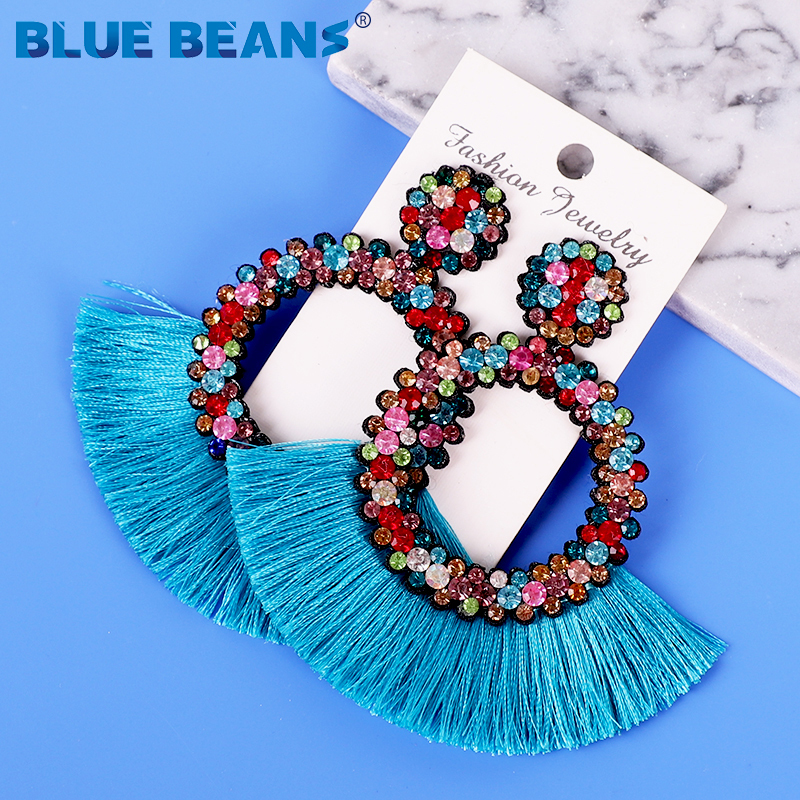 Heda09f85210446ec8755d4eb7780ba14x - Tassel Earrings Women Punk Earings Fashion Jewelry Hanging Crystal Star Girls Earring Drop Dangle Long Boho Set  Luxury Handmade
