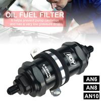 BLACK AN6 / AN8 / AN10 Outlet Filter Inline PQY Fuel Filter E85 Ethanol With 100 Micron Stainless steel element and PQY sticker