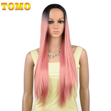 TOMO 70CM długa prosta Ombre peruka syntetyczna dla kobiet Cosplay naturalna peruka różowy czerwony zielony blond brązowy szary żaroodporne włosy
