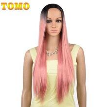 Tomo 70 cm 롱 스트레이트 옹 브르 합성 가발 여성용 코스프레 자연 가발 핑크 레드 그린 금발 갈색 회색 내열성 머리카락