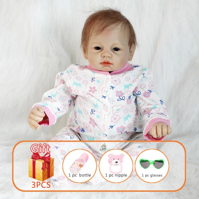 22 pouces jouet bébé poupée bébé Reborn poupées douce poupée Simulation Reborn Silicone membres coton corps Reborn bambin jouets pour enfants-in Poupées from Jeux et loisirs    1