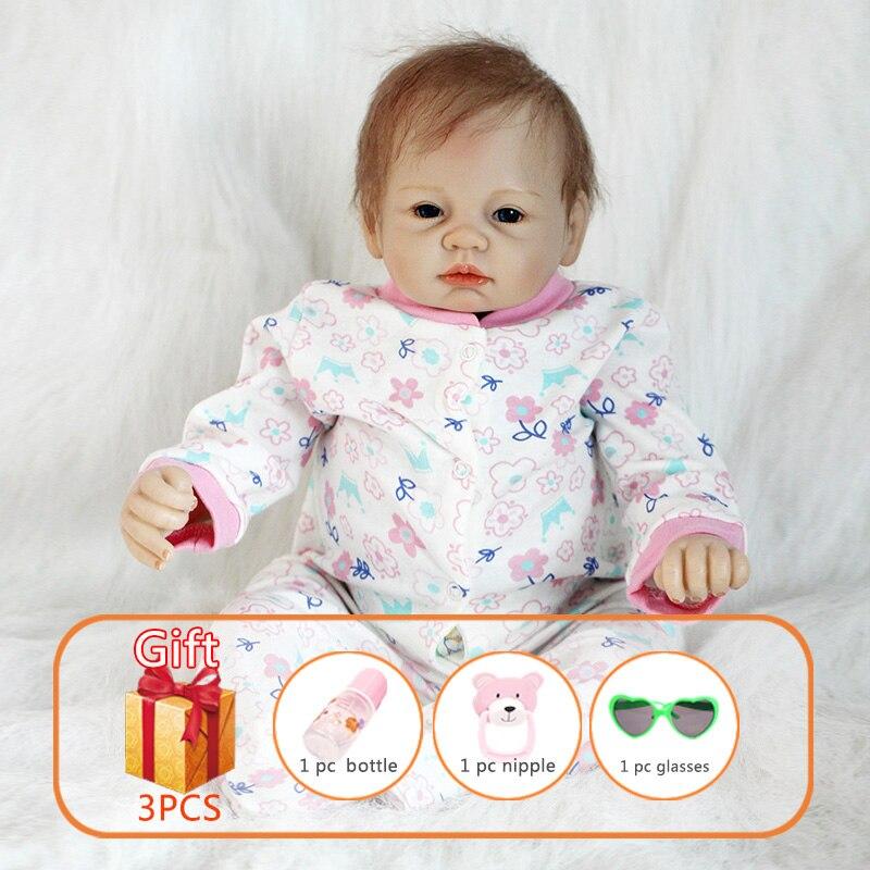 22 인치 장난감 아기 인형 아기 인형 인형 소프트 인형 시뮬레이션 다시 태어난 실리콘 사지 코튼 바디 reborn 유아 완구 어린이를위한-에서인형부터 완구 & 취미 의  그룹 1