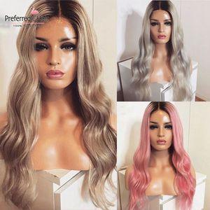 Favorito luz cinza rosa cinza cinza loira ombre peruca com o cabelo do bebê preplucked remy brasileiro frente do laço perucas de cabelo humano para mulher