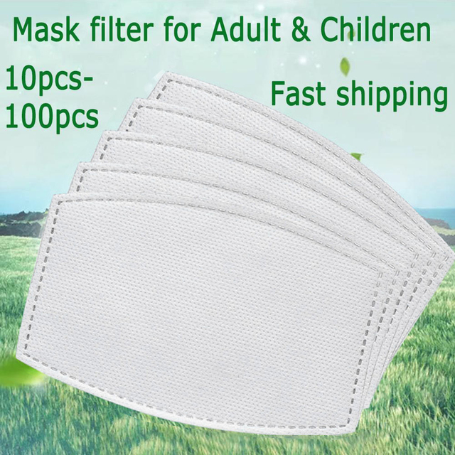 10/20/50/100pcs Adults Children  Mask Filter Paper Mask Filter Gasket Replacement Face Cover Accessory