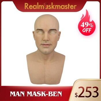 Realmaskmaster echt haut halloween männlichen latex realistische erwachsene silikon volle gesicht maske für mann cosplay partei fetisch