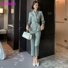 2019 autumn new womens suit fashion slim temperament was thin ladies small + pants two-piece