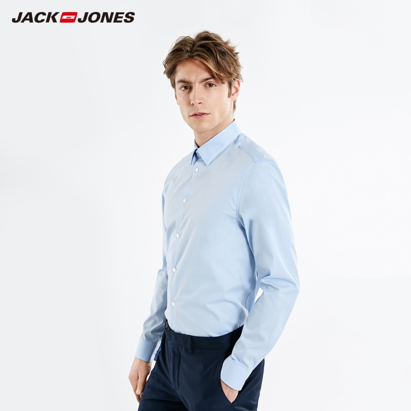 JackJones Men's Spring Business Slim Fit Pure Color Long-sleeved Shirt Basic Menswear| 219105579