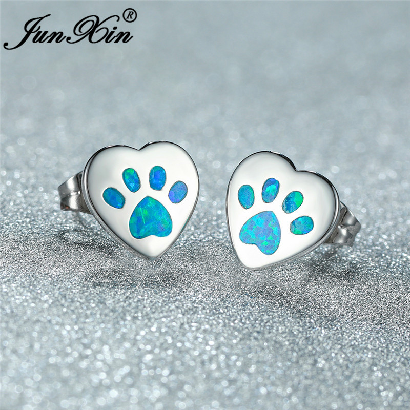 Blue White Fire Opal Animal Bear Cat Dog Paw Stud Earrings For Women Men White Gold Rose Gold Heart Earrings Wedding Jewelry Cz