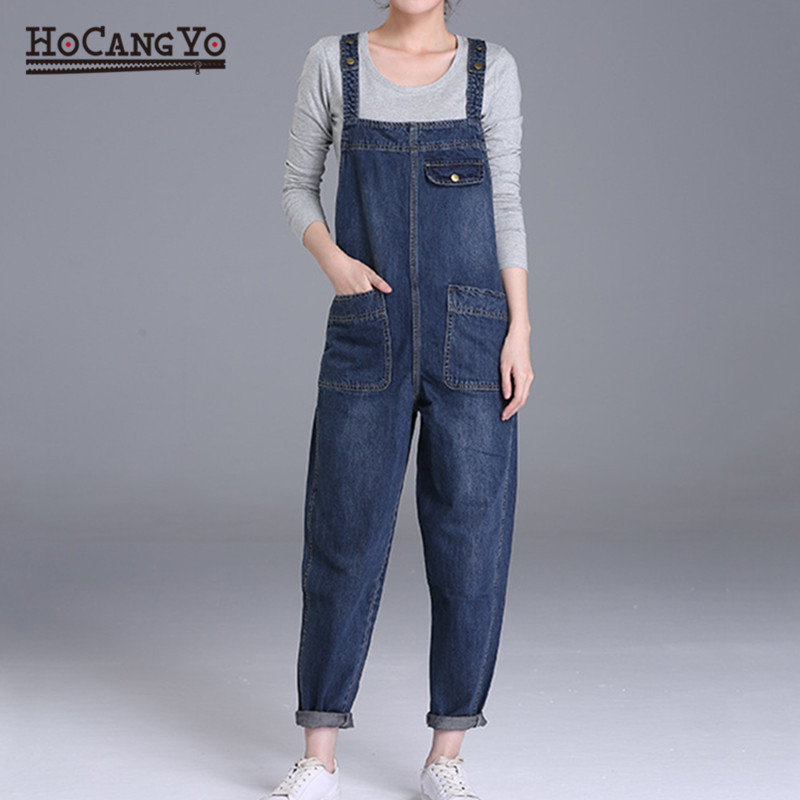 HCYO Plus Size 6XL Women Denim Jumpsuits Pants Loose Casual Wide Leg Denim Overalls Women 200 Pounds Fat MM Jumpsuit Rompers