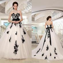 2019 Vintage de talla grande blanco y negro encaje vestidos de boda góticos Sweetheart encaje hasta por encargo jardín país nupcial fiesta ir