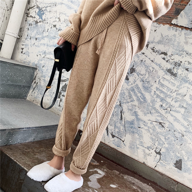 Autumn Winter Women Knitted Harem Pants Ladies Casual High Waist Drawstring Trousers female Warm Knitting Woolen Pants Plus Size
