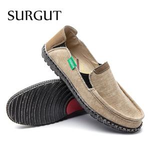 Image 5 - SURGUT Brand New Fashion All Season Men Driving Shoes Loafers Espadrilles Shoes Breathable Men Casual Flats Canvas Size 39~47