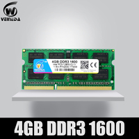 Veineda ddr3 4 gb 8 gb 1600nhz PC3-12800 so-dimm ram compatível ddr3 1333 PC3-10600 ddr 3 204pin para amd intel portátil