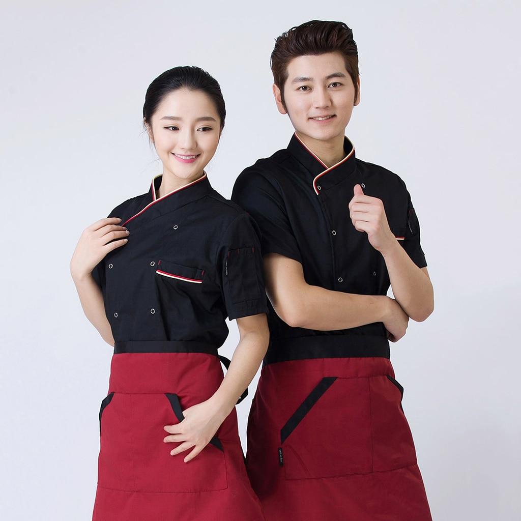 2Pcs Unisex Short Sleeve Kitchen Cook Coat Restaurant Hotel Chef Jackets 3XL Black Red Food Service Unifor Summer