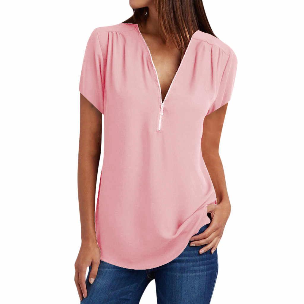 T-shirt Vrouwen Casual Tops Shirt Dames V-hals Rits Losse T-shirt Blusas Tee Tops Топ Женский