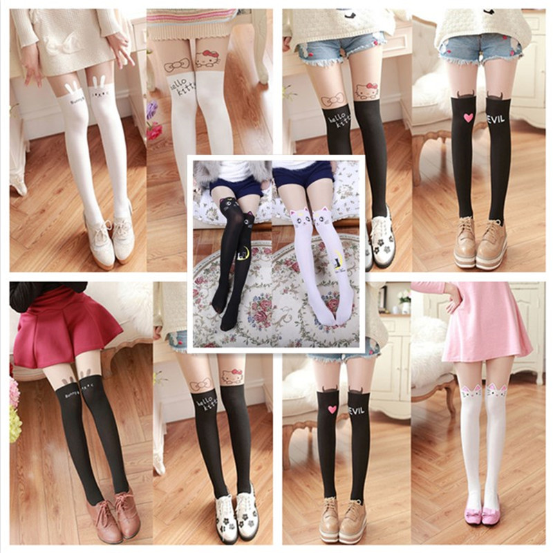 Anime Sailor Moon Cosplay Cute Cat Luna Tight Leggings Stockings Socks 2 Colors