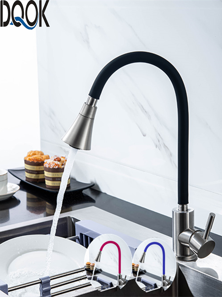 DQOK Kitchen-Faucet Water-Mixer Single-Handle Direction Black Cold Rotating Hot Red Nose